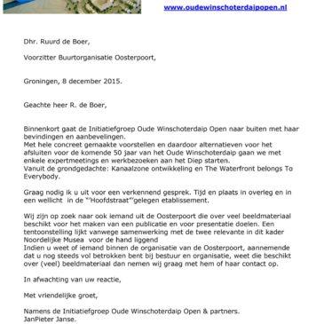 """Initiatiefgroep """"Oude Winschoterdaip Open"""" komt met bevindingen en aanbevelingen"""